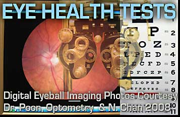 Eye testing equipment used by optometrists and opthamologists  range from current digizted images of eye ball to more traditional glass lens changing  and eye chart on walll  equipment - this is courtesy of Dr. John Poon, Harborshid Optometry Clinic in Victoria and photos by Neal Chan