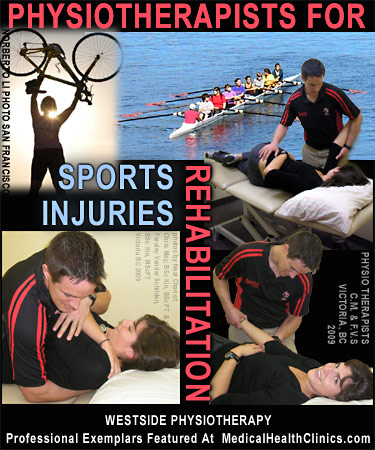 Physiotherapy Clinics - photo collage of 2 physios demonstrating work on arms and upper back stretch manipulations - Victoria Physiotherapists Crhis M. & Fareley V. work lot with sports injuries n